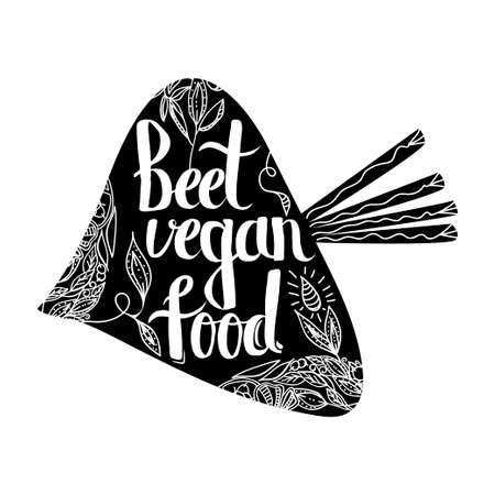eco slogan: Creative typographic poster with the lettering on the black silhouette of the beet with handmade ornaments isolated on a white background with the text vegan. Vector illustration Illustration
