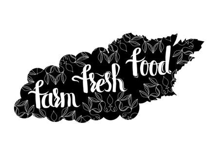 eco slogan: Creative typographic poster with the lettering on the black silhouette of grapes with handmade ornaments isolated on a white background with text farm fresh food. Vector illustration Illustration