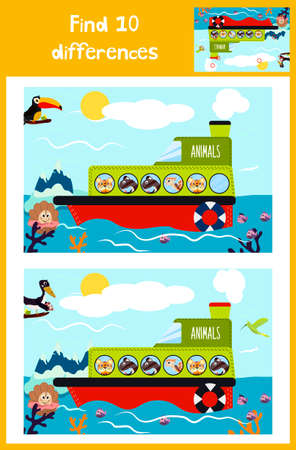 Cartoon of Education to find 10 differences in childrens pictures of the boat with the animals of the wild jungle among marine fish, plants . Matching Game for Preschool Children. Vector illustration