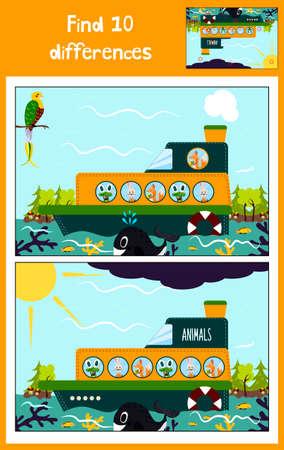 De dibujos animados de Educación para encontrar las 10 diferencias en las imágenes de los niños, el barco flota con los animales salvajes del bosque entre los peces marinos. Juego a juego para niños en edad preescolar. ilustración vectorial
