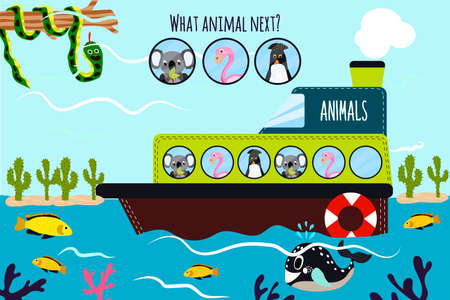 Cartoon Vector Illustration of Education will continue the logical series of colourful animals on a boat in the ocean among sea fish. Matching Game for Preschool Children. Vector illustration