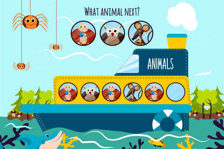 logical: Cartoon Vector Illustration of Education will continue the logical series of colourful animals on a boat in the ocean among the wild Islands. Matching Game for Preschool Children. Vector illustration Illustration