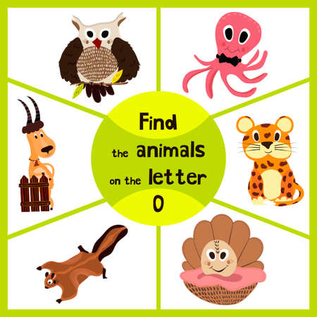 woodsy: Funny learning maze game, find all 3 of cute wild animals to the letter O, sea dweller octopus, woodsy owl and sea shell. Educational page for children. Vector illustration