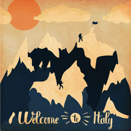 italy landscape: Vintage handlettering poster on the theme of winter tourism. Landscape mountains welcome to Italy . Vector illustration