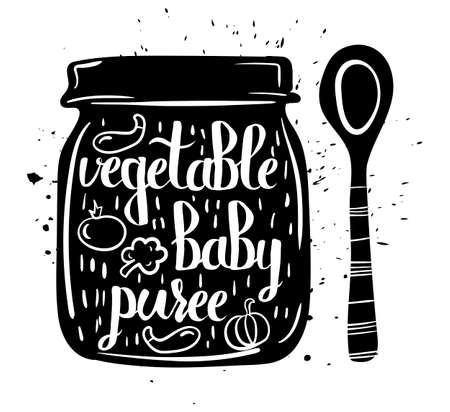 puree: Children natural food. A jar of vegan baby purees from fresh vegetables isolated on a white background. Vector illustration Illustration