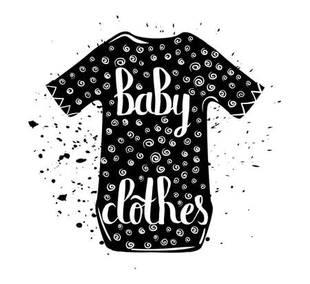 bodysuit: Vintage cartoon print baby clothes and hand lettering isolated on white background. Vector illustration Illustration