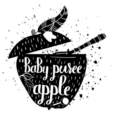 illustration food: Baby food from Apple on a white background. Baby puree.Vector illustration