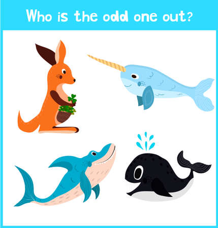 characteristic: Cartoon colorful background of Education to find 1 extra pet kangaroo of the inhabitants of the seas and oceans in childrens pictures . Matching Game for Preschool Children. Vector illustration Illustration