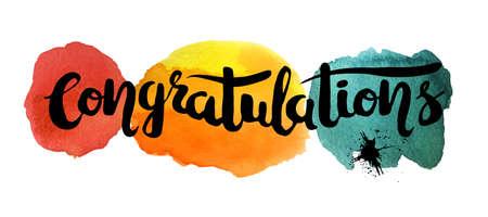 felicitaciones: pintura a mano abstracto arte de la acuarela en el fondo blanco con letras de cotización. felicitaciones cartel dibujado a mano. ilustración vectorial