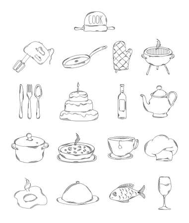 restaurant icons: Professional collection of icons and elements. A set of cooking and kitchen hand drawn elements, doodles isolated on white background. Vector illustration Illustration