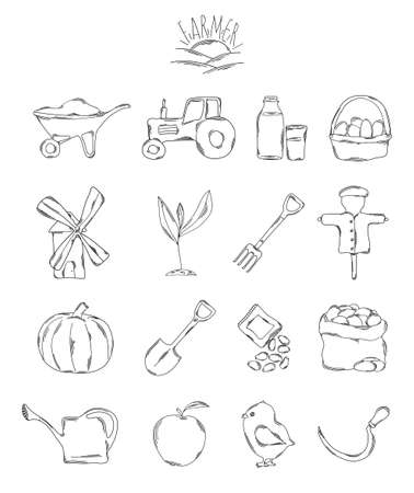 working hands: Professional collection of icons and elements. A set of farmer, farm hand drawn elements, doodles isolated on white background. Vector illustration Illustration