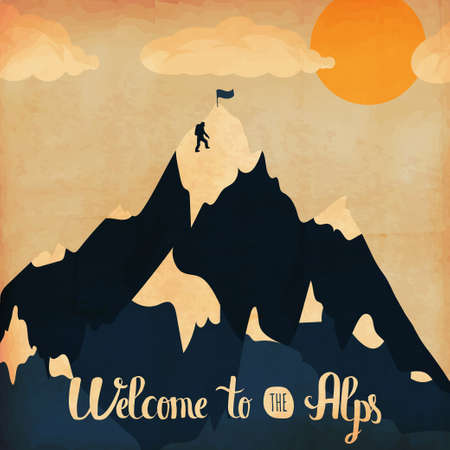 Vintage handlettering poster on the theme of winter tourism. Landscape mountains welcome to the Alps. Vector illustration Vettoriali