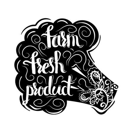 Creative typographic poster with the lettering on the black silhouette of vegetarian broccoli with handmade ornaments isolated on a white background with text farm fresh food. Vector illustration
