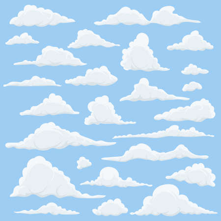 Cartoon Clouds Set On Blue Sky Background. Set of funny cartoon clouds, smoke patterns and fog icons, for filling your sky scenes or ui games backgrounds. Vector Vectores