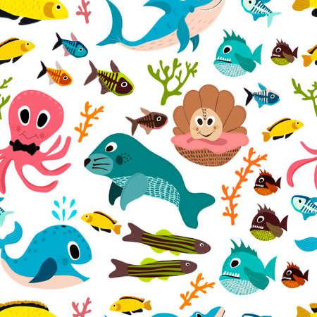manatee: Cute seamless underwater texture design. Cartoon style. vector illustration