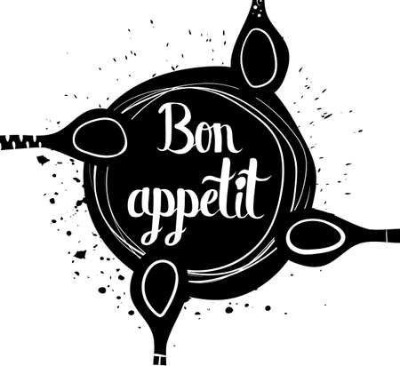 bon: Insulated bowl with spoons on a white background. Bon appetit. Vector illustration