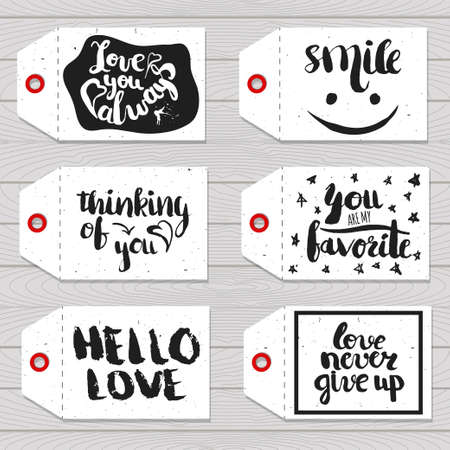 readymade: Collection handdrawn in the style of the lovely ready-made gift tags with love and motivational quotes on wooden background. Vector illustration