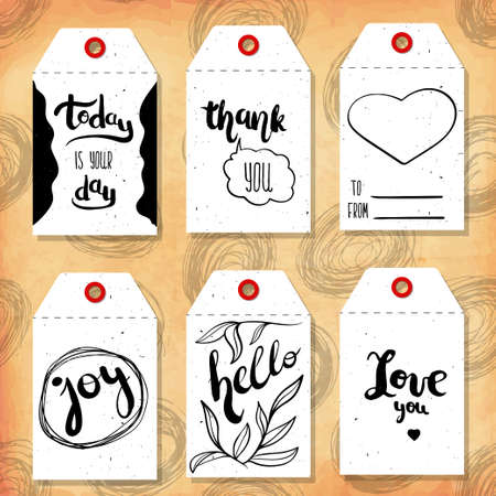 readymade: Collection handdrawn in the style of the lovely ready-made gift tags with love for Valentines day. Vector illustration Illustration