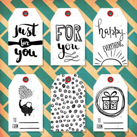 readymade: Collection handdrawn in the style of the lovely ready-made gift tags with love. Vector illustration