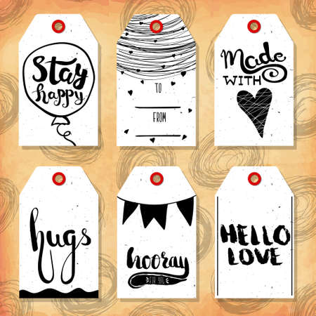 readymade: Collection handdrawn in the style of the lovely ready-made gift tags with love for lovers. Vector illustration Illustration