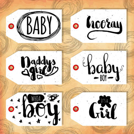 readymade: Collection handdrawn in the style of the lovely ready-made gift tags. Congratulations to mom and dad with a son and a daughter. Vector illustration Illustration