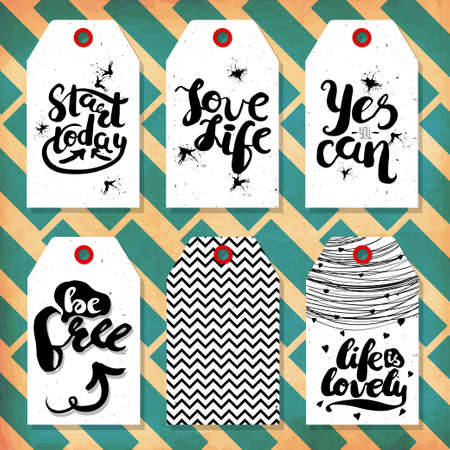 readymade: Collection handdrawn in the style of the lovely ready-made gift tags with love, and motivational quotes. Vector illustration