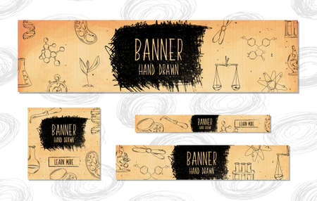 pharmaceuticals: Web Banners for websites 4 different sizes in retro style hand drawn. Chemistry, biology, pharmaceuticals and research. Vector illustration Illustration