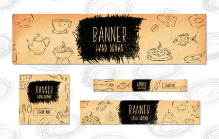 recipe background: Web Banners for websites 4 different sizes in retro style hand drawn. Cooking, baking and BBQ. Vector illustration