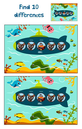 floats: Cartoon Vector Illustration of Education to find 10 differences in a colorful kid-friendly illustrations, submarine floats with cute animals. Matching Game for Preschool Children. Vector illustration