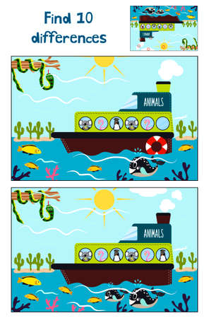 floats: Cartoon of Education to find 10 differences in childrens pictures, the boat floats with cute tropical animals Koala,  flamingos and  penguin. Matching Game for Preschool Children. Vector illustration