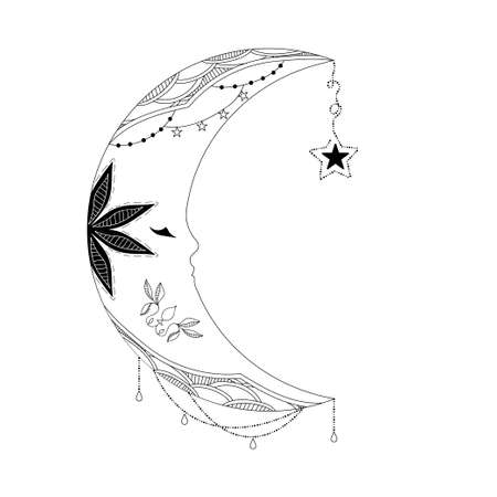 celestial: Handmade decorative ethnic pattern with the image of the moon and the stars. Vector illustration Illustration
