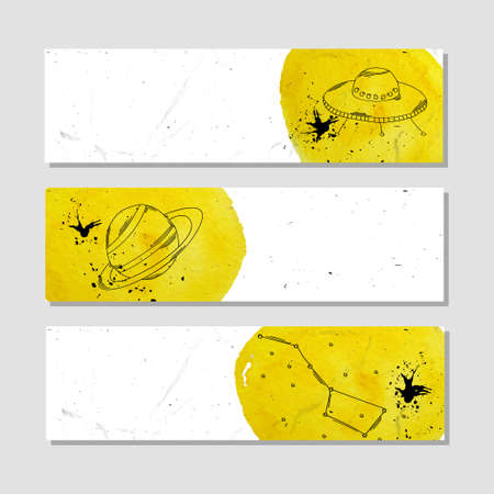 astronomer: Isolated advertising banner in paper style with colorful watercolor stains. Astronomical phenomena and natural objects, planets, constellations and space ships . Vector illustration