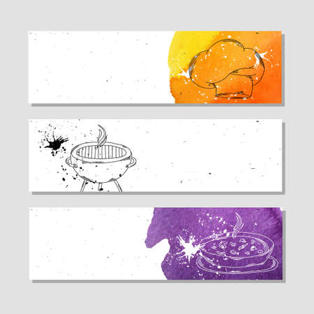 meat soup: Isolated advertising banner in paper style with colorful watercolor stains. The attributes for the chef in the kitchen and at the picnic, grilled meat, soup and chefs hat . Vector illustration