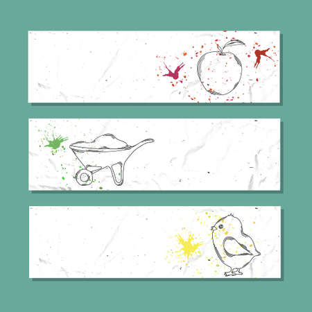 livestock: Isolated advertising banner in paper style with colorful watercolor stains. Farming livestock and horticulture. Vector illustration Illustration