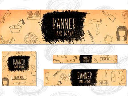 barbershop pole: Web Banners for websites 4 different sizes in retro style hand drawn. Barber, beauty and style. Vector illustration