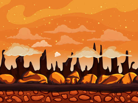 unending: Seamless cartoon mountain nature landscape, unending background with soil, stones on a background of mountains and cliffs with night sky cloud layers. Vector illustration