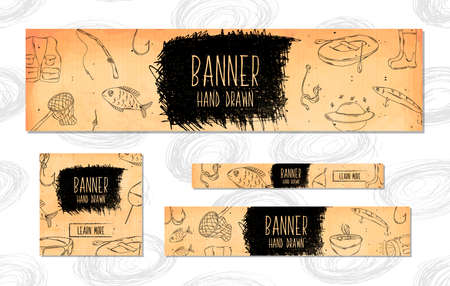 fishing tackle: Web Banners for websites 4 different sizes in retro style hand drawn. Fishing tackle and accessories for fishing in rivers, lakes, seas and oceans . Vector illustration
