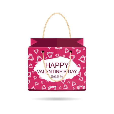 standalone: The stand-alone package happy Valentines day. Discount. Vector illustration Illustration