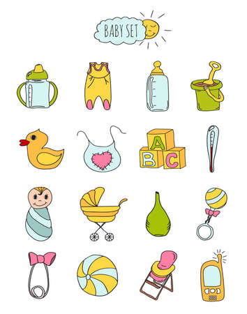 infant bathing: Colorful set of childrens icons in hand drawn style. Accessories, clothing and toys for newborns 2. Vector illustration Illustration