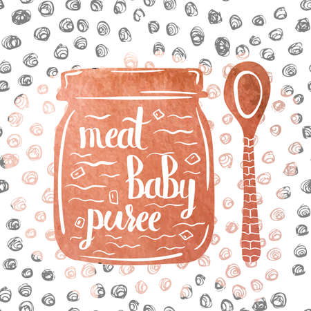 puree: Hand-lettered  a colorful poster advertising the meat baby food in a jar. Vector illustration