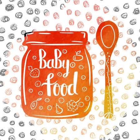 puree: Hand-lettered  a colorful poster with advertising of baby food in a jar. Vector illustration Illustration