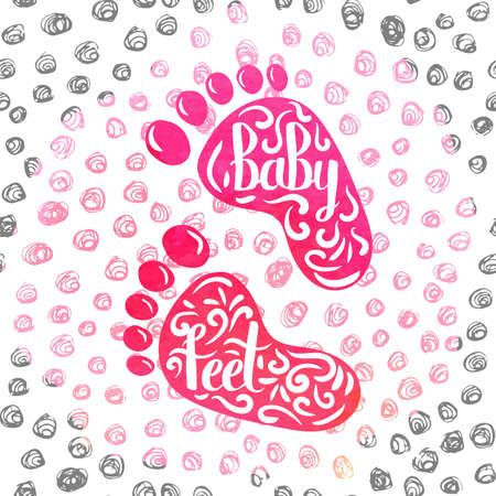 baby footprint: Hand-lettered  a colorful poster advertising the prints of childrens feet. Casts from clay and clay in memory of the birth of a baby girl. Vector illustration