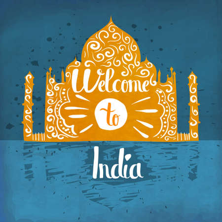 familiarity: Colorful hand lettering is a poster on the theme of travel and adventure abroad. Familiarity with the traditions and attractions of India. Vector illustration Illustration