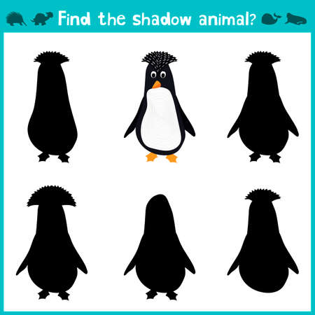 antarctic: Educational children cartoon game for children of preschool age. Find the right shade cute Antarctic penguin. Vector illustration
