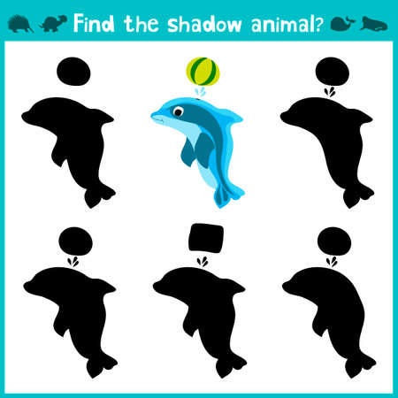 dolphins: Educational children cartoon game for children of preschool age. Find the right shade cute sea Dolphin. Vector illustration Illustration