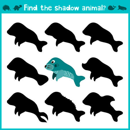 manatee: Educational children cartoon game for children of preschool age. Find the right shade cute marine manatee. Vector illustration