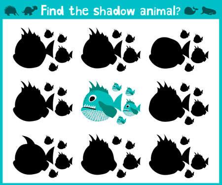 matematicas: Educación juego de dibujos animados los niños para los niños de edad preescolar. Encuentra la sombra derecha de un pez depredador de las pirañas del Amazonas. ilustración vectorial