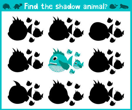 Educational children cartoon game for children of preschool age. Find the right shadow of a predatory fish of the Amazon river piranhas. Vector illustration