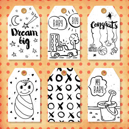 birthday gift: A collection of 6 creative handmade gift tags to set the mood.Congratulations on the birth of a boy and girl, son and daughter. Vector illustration