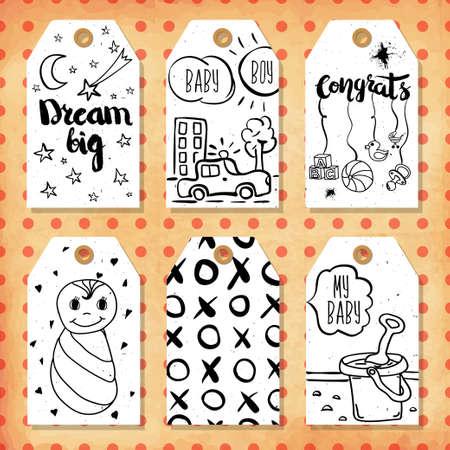 felicitaciones cumpleaÑos: Una colección de 6 etiquetas creativas de regalo hecho a mano para ajustar los mood.Congratulations en el nacimiento de un niño y una niña, hijo e hija. ilustración vectorial